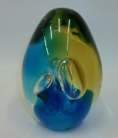 Large Elongated Glass Paperweight - Suspended Bubbles with Fantastic Colors