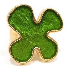 Ring SoHo Blume gold Kunstharz grün resin retro kaltemail style SoHo