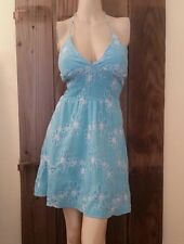 LA BELLE AQUA HALTER SUN DRESS EMBROIDERED FLORAL SHIRRED BOHO RETRO PINUP SM