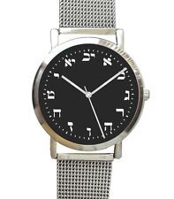 Hebrew Numbers Large Polished Chrome Watch Has Black Dial & Mesh Stainless Band