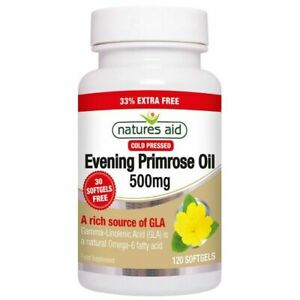 Natures Aid Evening Primrose Oil, 500 mg 120 Softgels Pure Cold Pressed-Evening