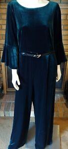 Calvin Klein Dark Green Velvet Jumpsuit NWT Plus Size 18W