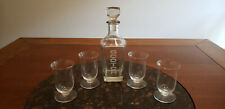 Set of (4) Riedel Vinum Scotch Glasses & Glass Decanter With Etched Scotch Logo