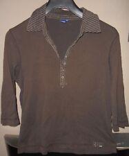 cecil:Shirt khaki-braun Kragen+Ausschnitt gestreift Druckknöpfe XL eher M L>Maße