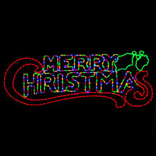 Merry Christmas Silhouette Rope Light Large Outdoor LED Wall Decoration Christow