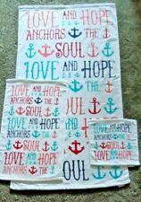 3 Pc Colorful Plush Velour Love Hope Anchors Soul KassaFina Towel Set Nwot