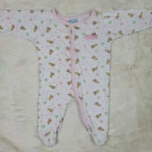 Vintage Precious Moments Footed One Piece Baby Girls Pajamas Size 3-6 Months