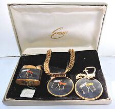 New NOS Antique EVANS Mask Masquerade Lighter Key Chain & Bracelet Set w Box R52