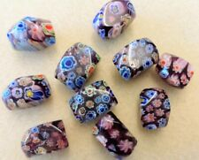 10 Beads Millefiori Very Large Nugget Beads Varigated Clear Sunshine Flowers