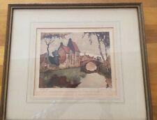 Framed/Matted Julian Celos Hand Signed Etching 202/500 Canal Scene GE110