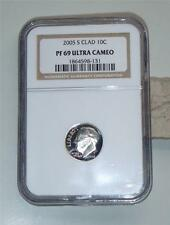 2005 S CLAD Roosevelt PROOF DIME graded NGC PF 69 Ultra Cameo STUNNING !