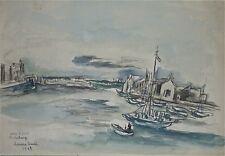 "Hermine DAVID:grande aquarelle ""Port de Cherbourg""/1963"