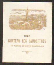 ETIQUETTE VIN 1926 / CHATEAU LES JAUBERTHES