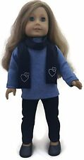 Blue Top, Navy Leggings & Scarf w/Hearts fits 18 inch American Girl Doll Clothes