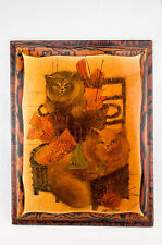 "Vintage Seal Point Cats in Baskets on Wooden Plaque Orange Brown Signed 18""x14"""