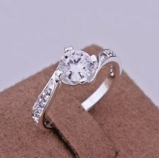 .925 Sterling Silver Plated Ring Size 8 Zircon Solitaire Twist Women's Fashion