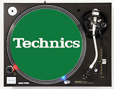 TECHNICS CLASSIC WHITE ON GREEN - DJ SLIPMATS (1 PAIR) 1200's or any turntable