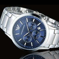 Emporio Armαni AR2448 Watch Quartz Men's Silver Steel Blue Dial 5 Year Warranty