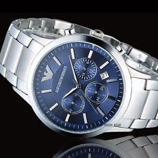 Emporio Armαni AR2448 Watch Quartz Men's Silver Steel Blue Dial 5 Year Warranty