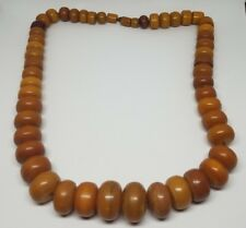 Vintage Heavy Large Butterscotch Bakelite Graduated Sphere Bead Necklace