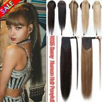 AAA 100% Human Hair Real 100G Ponytail Clip In Wrap Around Pony Tail Extensions