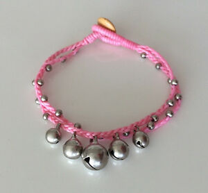Handmade Coloured Friendship Bracelet with 5 Silver Bells and beads Brand New!