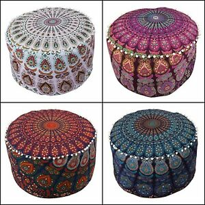 Pouffe Mandala Design Cotton Ottoman Cover Handmade Footstool Indian Beautiful