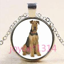 Airedale Terrier Cabochon Tibetan silver Glass Chain Pendant Necklace #4397