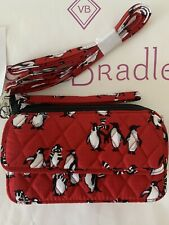 NWT VERA BRADLEY ALL IN ONE Crossbody Wristlet iPhone plus Playful Penguins Red