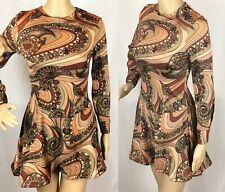 Vintage 60s 70s Mod Brown Psychedelic Paisley Print Scooter Mini Dress S UK 8