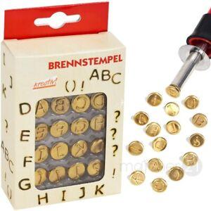 Brandmalerei Brennstempel Buchstaben Set A – L & Satzzeichen 16 Stk. Aufsätze