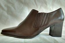 Womens Ladies Clarks Brown Leather Block Heel Shoes Boots Size 5-6 5.5 New