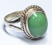Sterling Silver Traditional Asian Vintage Style Turquoise Stone Ring Size L Gift