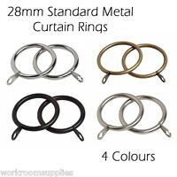20 Metal Curtain Rings for 28mm poles Satin Silver/Graphite/Antique Brass/Chrome