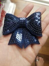 navy 3D sequin bow hotfix iron on Motif patch Lace xmas costume Applique