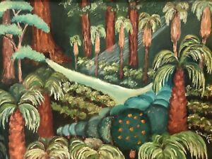 1950s Tunnel Tree Trees of California Fantasy Forest Folk Art Painting~Mystery