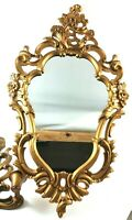 "Ornate Gold Molded Plastic Frame Mirror Wood Candle Holder Mid Century 24"" High"