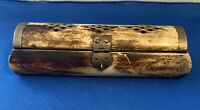 "ANTIQUE VINTAGE HANDMADE BONE TRINKET BOX 6"" Long"