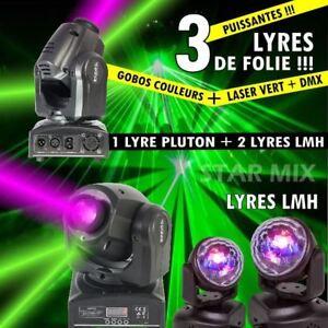 3 JEUX DE LUMIERE LYRES PLUTON10-LZR GOBO LED LASER + 2 LYRES LMH PA DJ SONO
