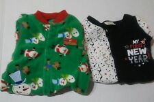 My First Christmas And New Years Infant Sleepers Size 0 - 3 Mths Holiday Baby
