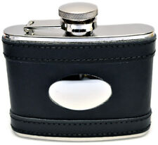 4oz Black Leather Covered Steel Hip Flask Captive Lid and Free Engraving (fl26)