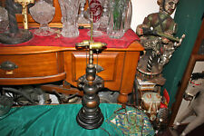 Antique Chinese Asian Metal Table Lamp-Elephant Falcon Bird Handles-#1