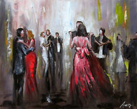 100%Hand-painted Oil Painting Party Cityscape 16*20inch Decoration Fiugre canvas