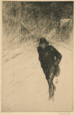 Theophile Steinlen Reproduction: Tramp in the Snow - Fine Art Print