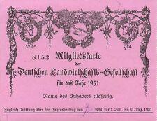 i8516 alte Mitgliedskarte Landwirtschaftsgesellschaft 1931, Nienstädt Sülbeck
