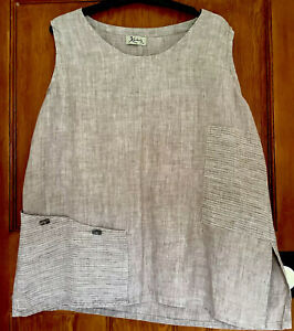 Kasbah Taupe Linen Lagenlook Sleeveless Quirky Layering Tunic. L. Stripe Pocket