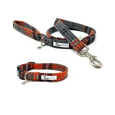 Orange Tartan Dog Collar and Lead Set