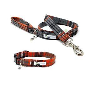 Orange Tartan Dog Collar and Optional Matching Lead Set