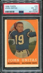1958 Topps Football #22 John Unitas PSA 4 MC Baltimore Colts HOF Louisville