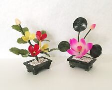2 pc set of Stone Carving Bonsai Lotus Flower and Peach Tree Flower Arrangement